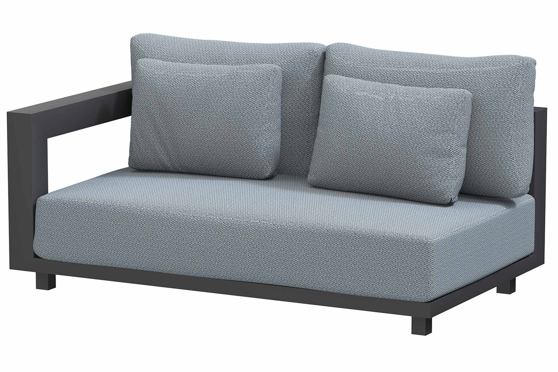 Metropolitan 2.5 seater bench right arm with 5 cushions