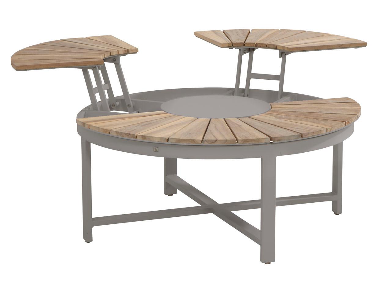 Forio antracite/teak lounge tuintafel rond 105cm