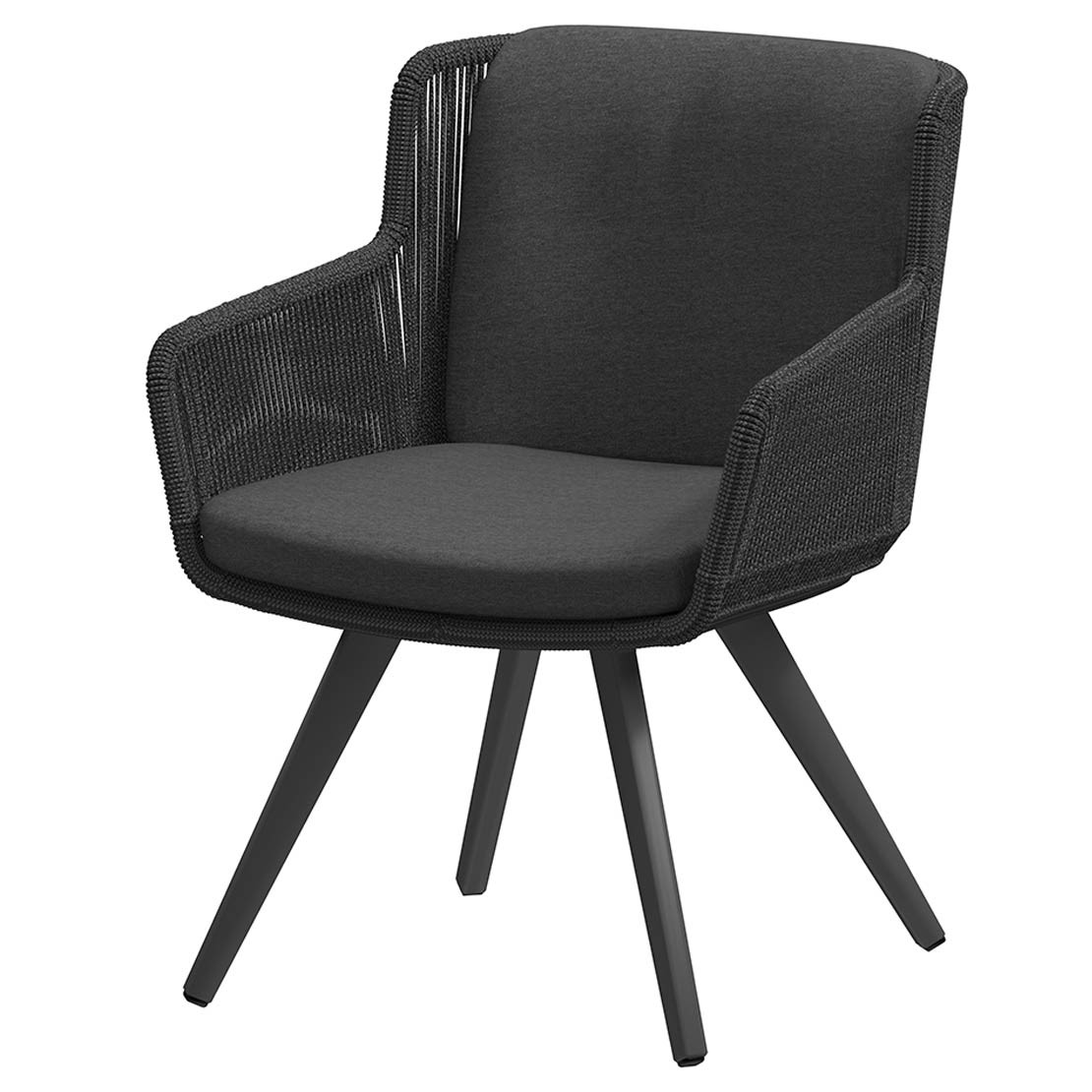 Flores dining chair Alu legs Anthracite with 2 cushions