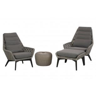 Savoy loungestoelen set 4-delig met hocker