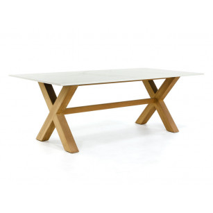 Dekton tuintafel met stoere houten kruispoot onderstel
