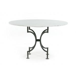Ronde marmer tafel Bianco Carrara met klassiek stalen onderstel