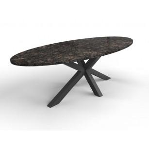 Ovale natuursteen tafel met granieten blad en matrix onderstel