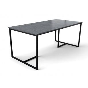Granieten tafel met design zwart gecoat onderstel