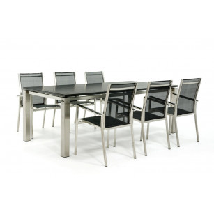 Granieten tafel met rvs stoelen