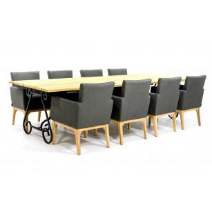 Houten tuintafelset met outdoor textiel stoelen