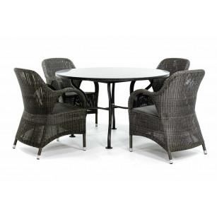 Ronde granieten tuintafel met stoelen