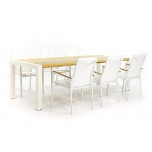 Witte tuintafel met hardhouten tafelblad