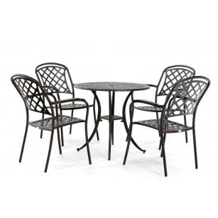 Landelijke ronde tafel met vier stoelen