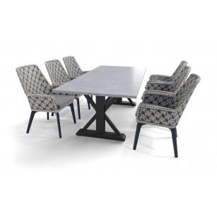 Robuuste tuintafel met betonlook Belgisch hardsteen (geschuurd) tafelblad en Savoy stoelen