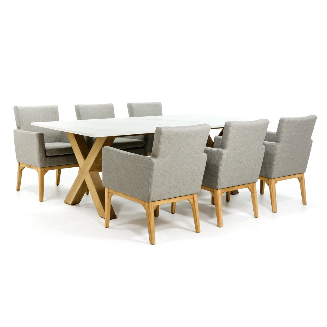 Dekton tafelblad met houten kruispoot onderstel