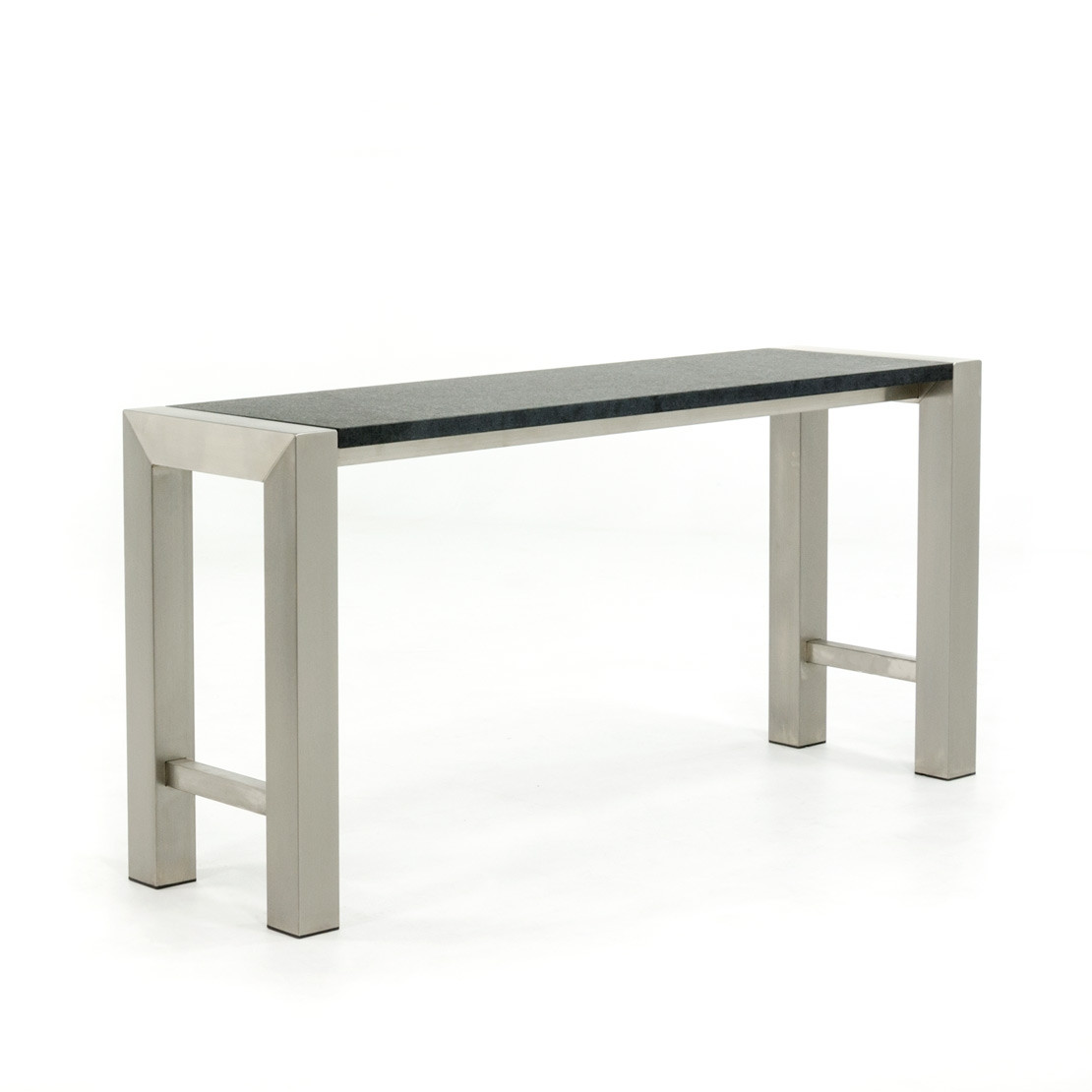 RVS side-table met basalt (gevlamd) bovenblad