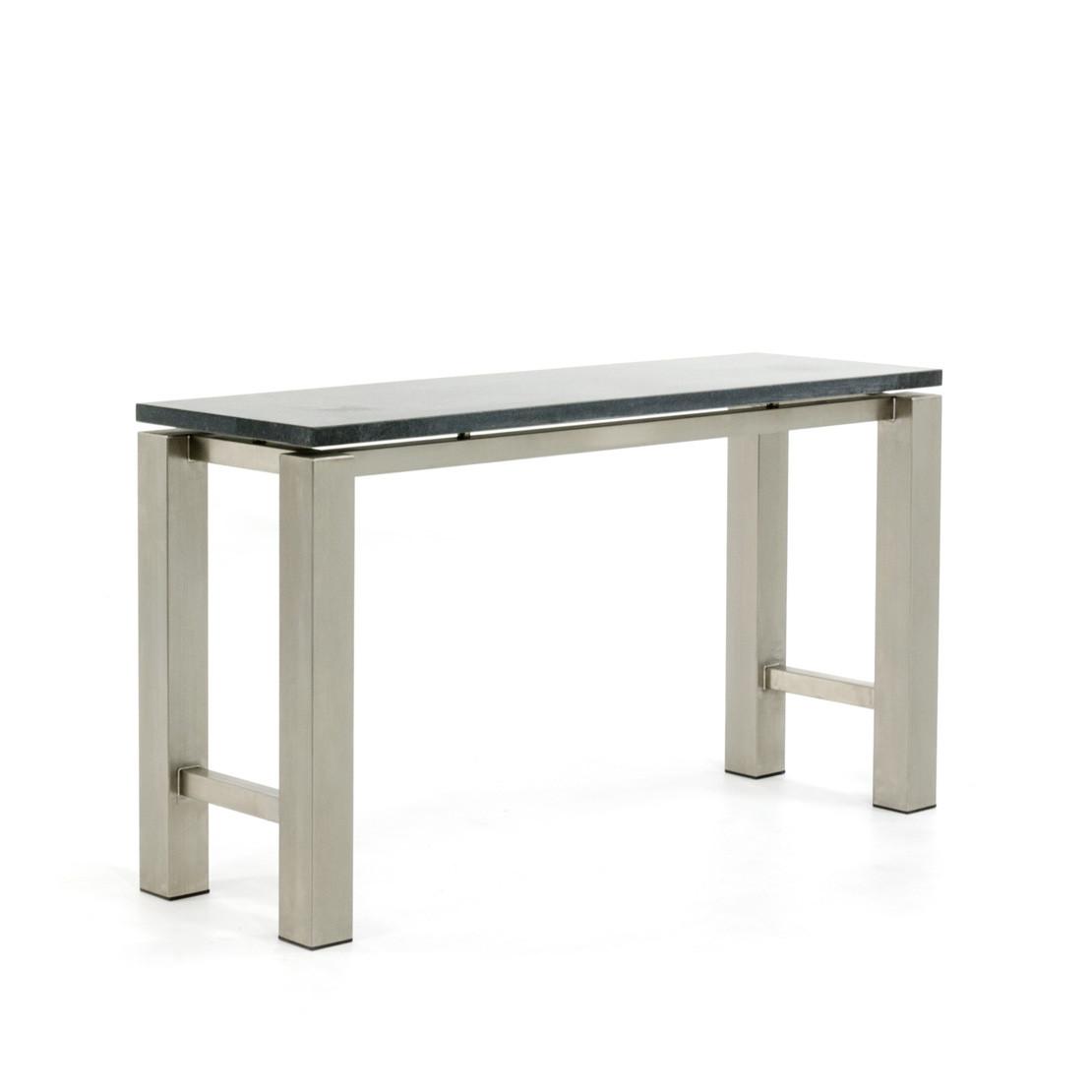 Side-table met zwevend Basalt blad en RVS onderstel