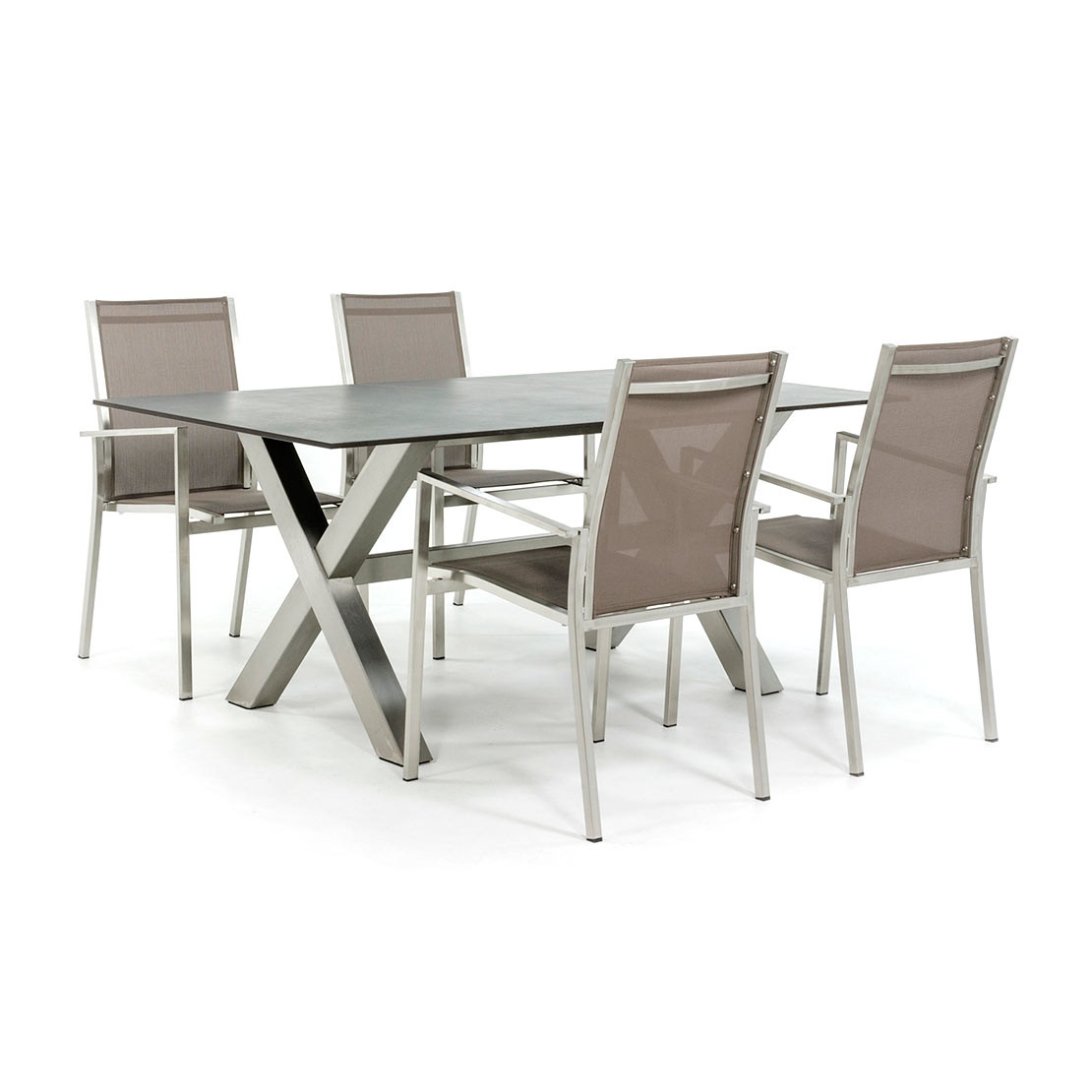 Dekton tafel met RVS tafelonderstel en stoelen