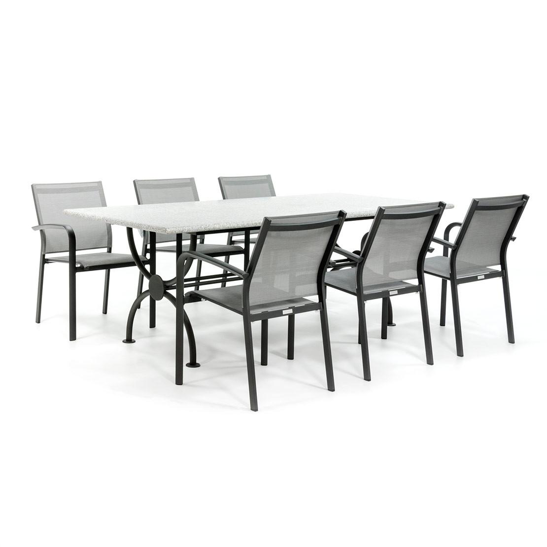 Tuinset met stenen blad en aluminium stoelen