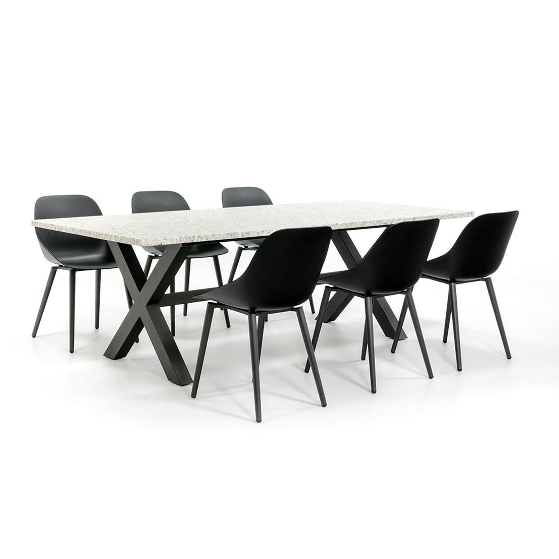 Industriële tuinset met moderne stoelen