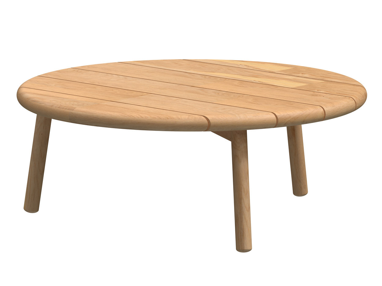 Ceylon coffee table Natural Teak round 90 cm Teak legs (H35)