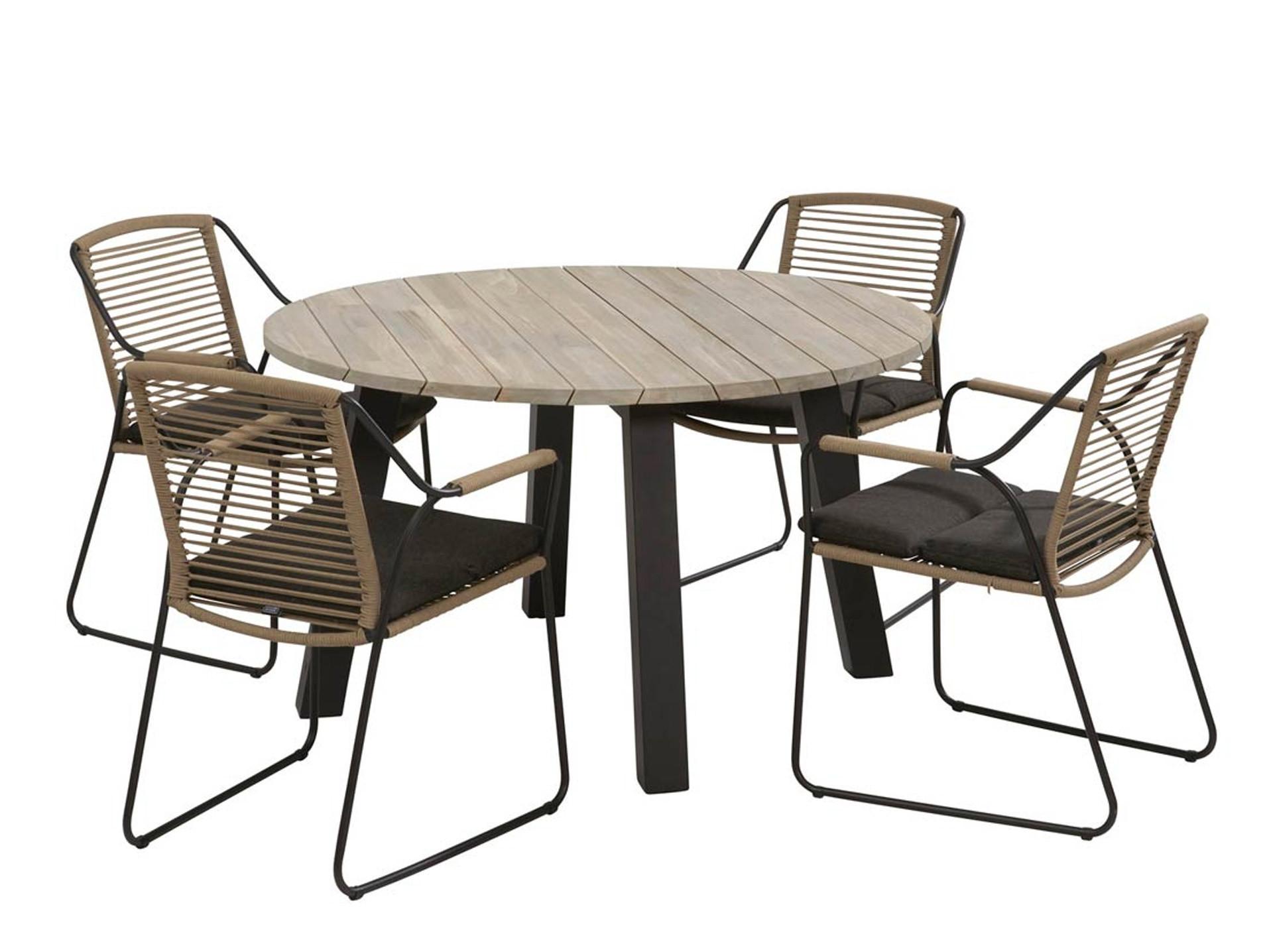 Derby teak aluminium tuintafel rond 130 cm met 4 Scandic dining tuinstoelen