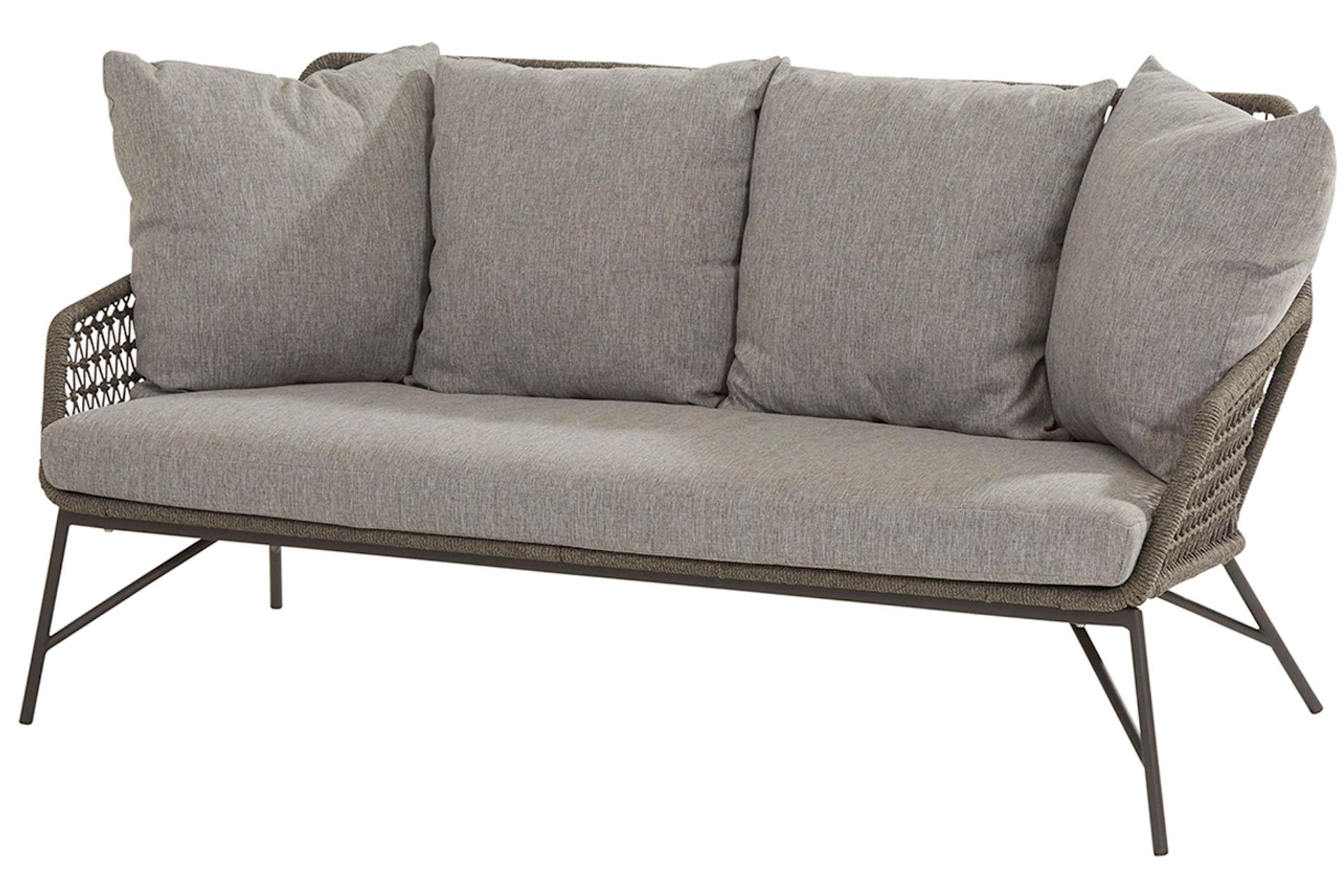 Babilonia living bench 2.5 seaters mid grey knotted with 5 cushions