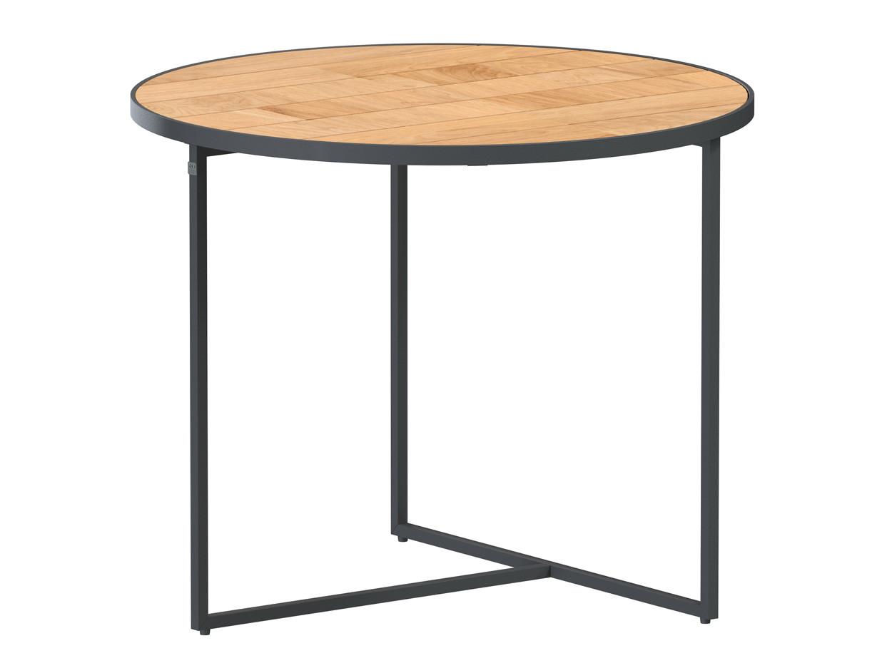 Strada side table Natural teak round 55 cm Alu legs (H45)