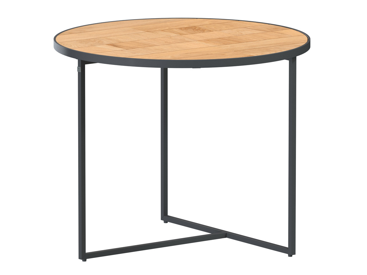 Strada side table Natural teak round 55 cm. Alu legs (H45)