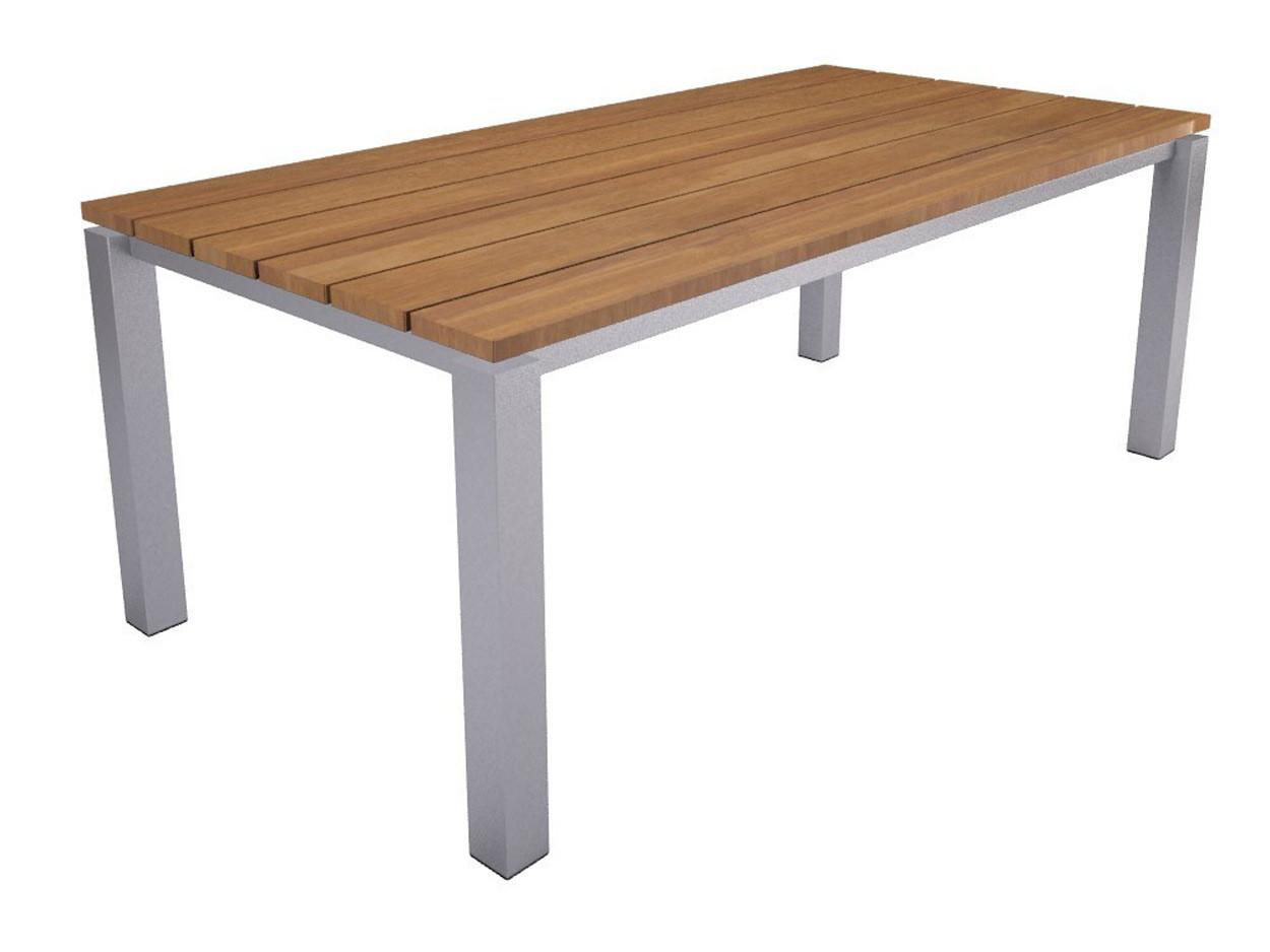 Zwevend houten tafelblad met RVS onderstel