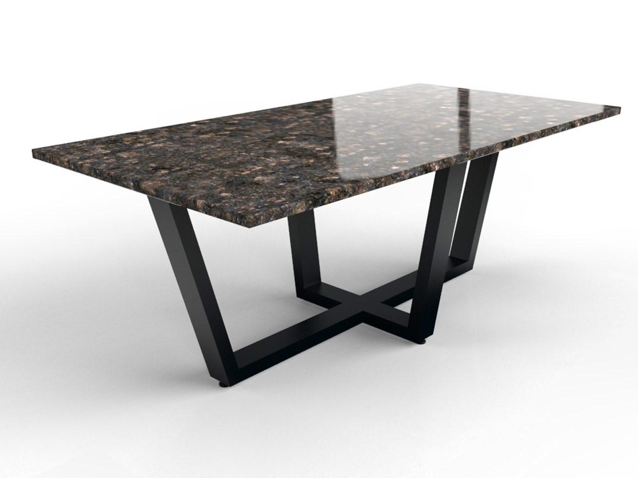 Gepolijst granieten dining tafel met ijzeren onderstel