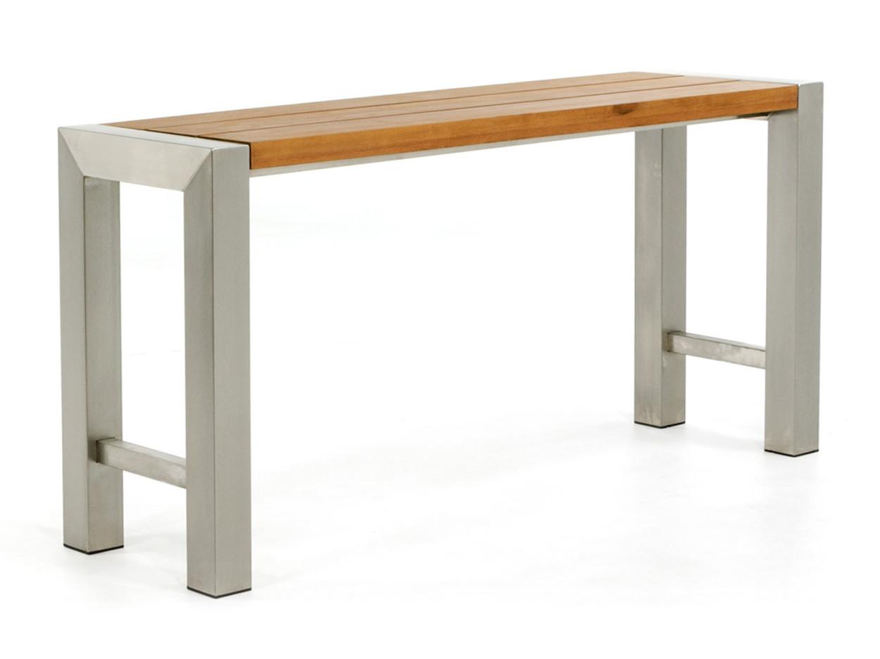 RVS side-table met hardhouten blad