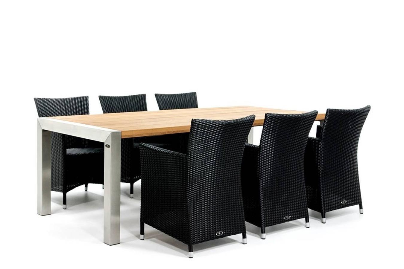 Mooie RVS tafel met hardhouten blad