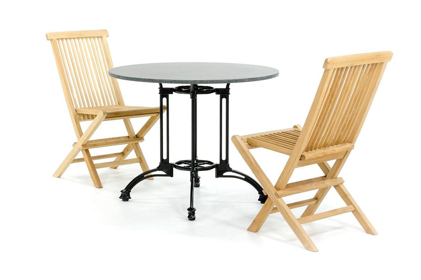 Granieten bistroset met houten stoelen