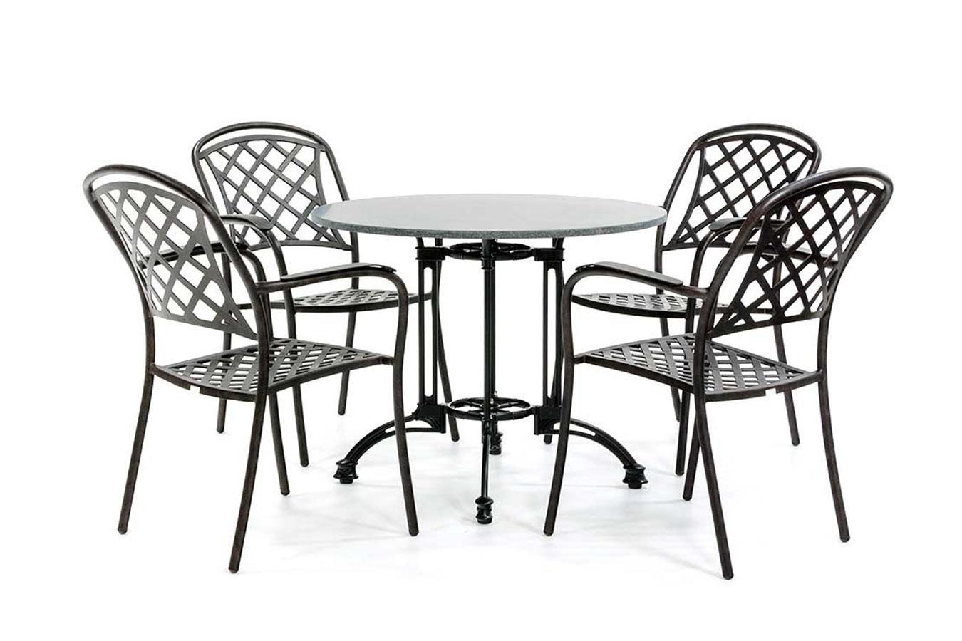 Granieten bistroset met 4 klassieke stoelen