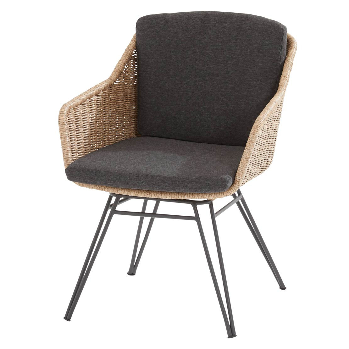 Bohemian dining chair Natural with 2 cushions