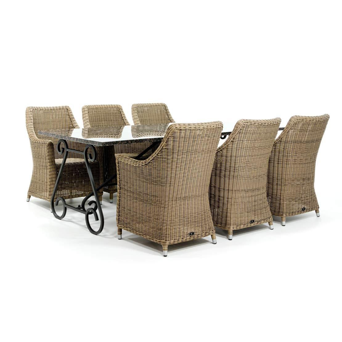 Toulouse tuintafel met vlechtwerk stoelen