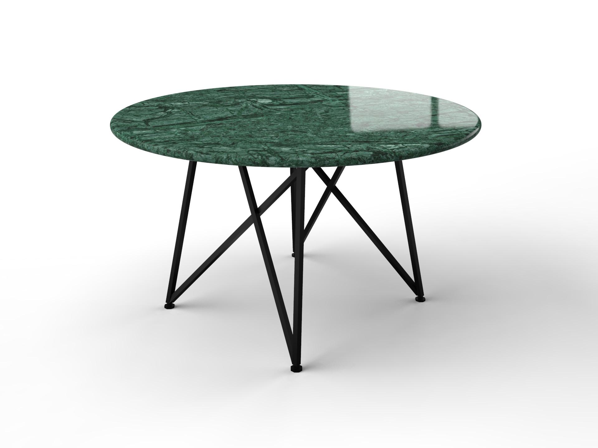 Groene marmeren tafel met scandanavisch design onderstel