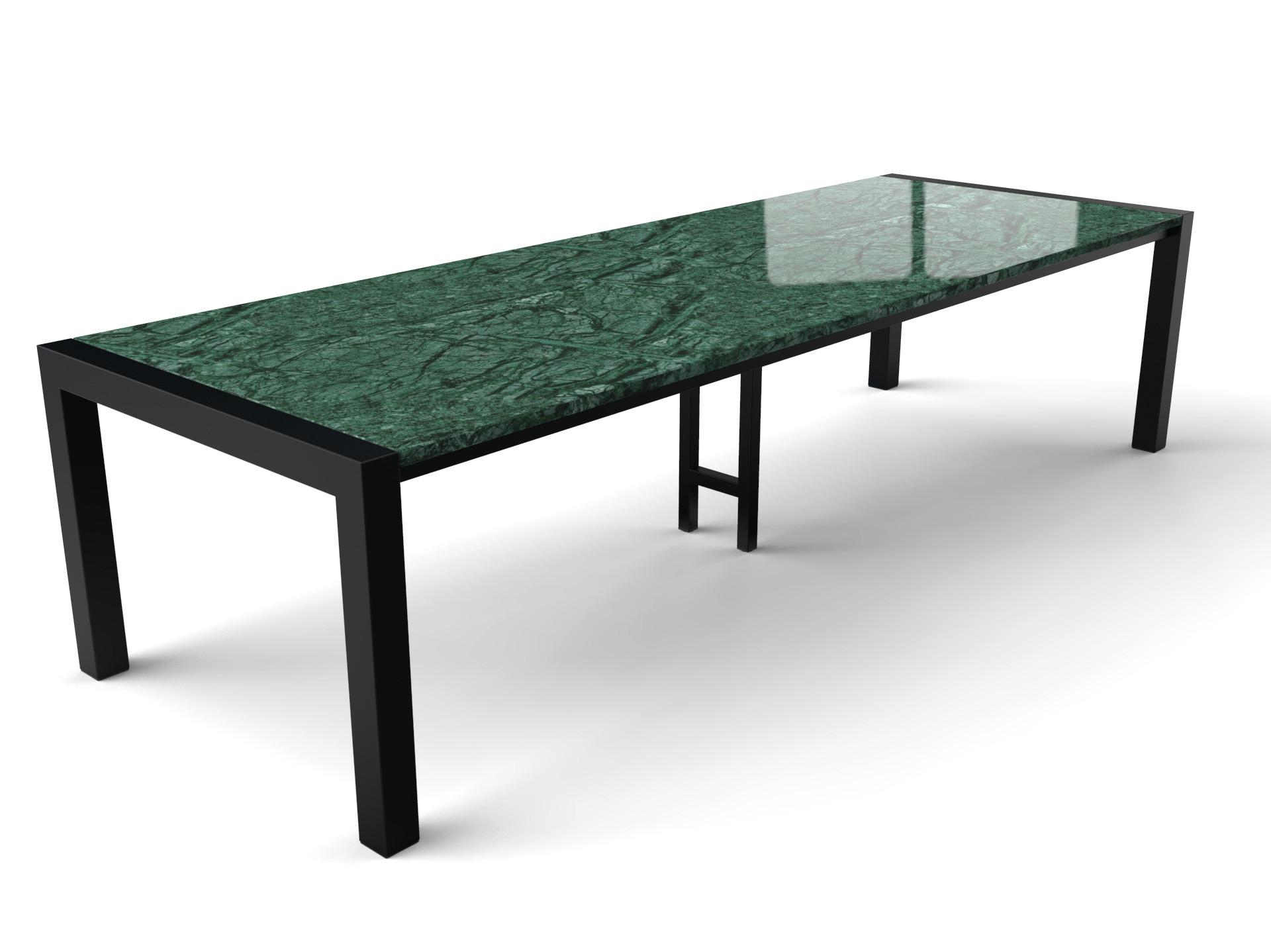 Grote marmeren tafel met groene Verde Guatemala tafelblad