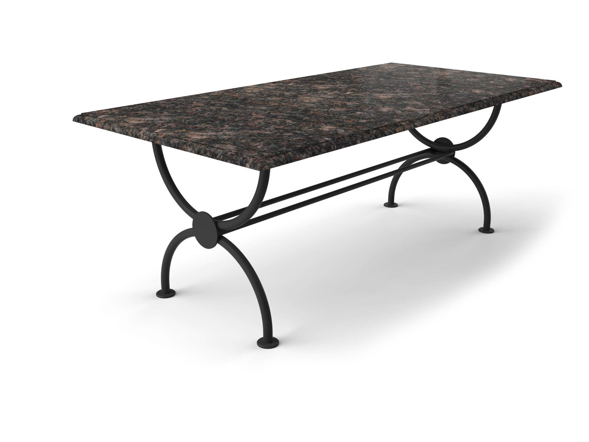 Granieten tuintafel met sierlijk Rondo tafelonderstel